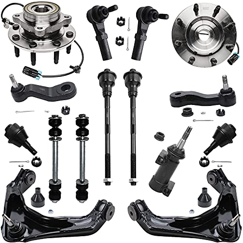 Detroit Axle - Front Wheel Hub & Bearing + Upper Control Arm w/Ball Joint Suspension Kit Replacement for Silverado Sierra 1500 2500 HD - 15pc Set