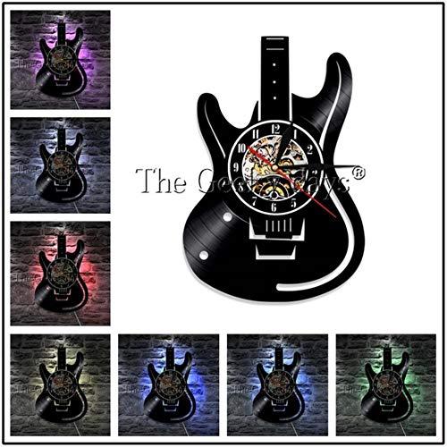 MNHI Musikinstrument Schallplatte Wanduhr Modernes Design Gitarren- und Schlagzeug-Kits Rockmusik LED-Uhr Wanduhr Home Decor, H-7 LED-Farbe