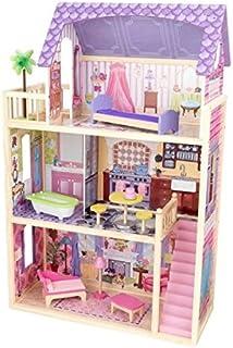 KidKraft 65092 Casa de muñecas de madera Kayla para muñecas de 30cm con 10 accesorios incluidos y 3 niveles de juego