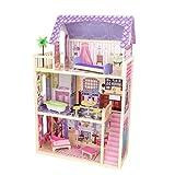 UNA VILLA VARIOPINTA - Questa lussureggiante casa delle bambole, con i suoi 3 piani, 4 stanze, una veranda, e scale con modanature, rappresenta il sogno di ogni bambino. Il set da gioco è alto 114,3cm, ed è fabbricato con legno di qualità superiore. ...