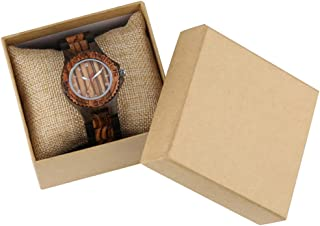 CAIDAI&YL Reloj para Mujer Caja de Madera Natural Correa de Reloj Cierre Plegable Cuarzo, Modelo 1 con Caja