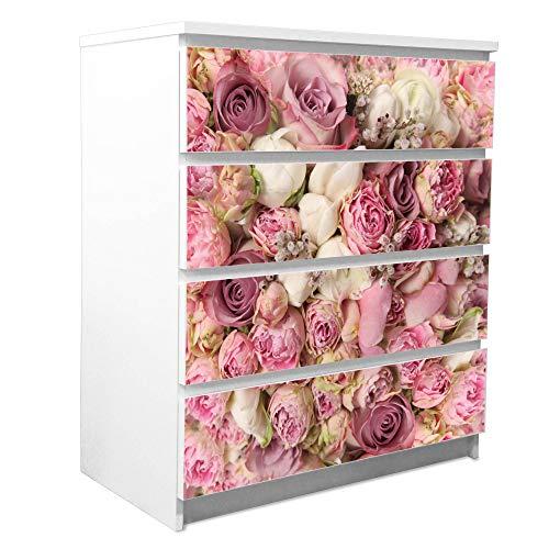 banjado Möbelfolie passend für IKEA Malm Kommode 4 Schubladen | Möbel-Sticker selbstklebend | Aufkleber Tattoo perfekt für Wohnzimmer und Kinderzimmer | Klebefolie Motiv Strauss Rosen