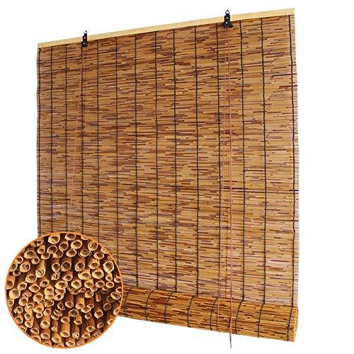 Refue Schilfrollos für Außen Seitenzug Fenster Tür Bambusrollos Interne/Externe Installation, Anti-Mehltau, Feuchtigkeitsbeständig