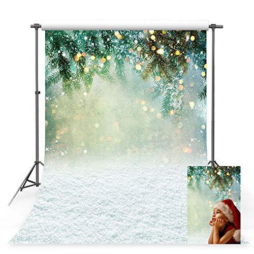 MEHOFOTO 1,5 x 2,1 m Bianco Neve Studio Foto Sfondo Inverno Natale Fiocco di Neve Paesaggio Foglie Verdi Bokeh Fotografia Fondali Puntelli