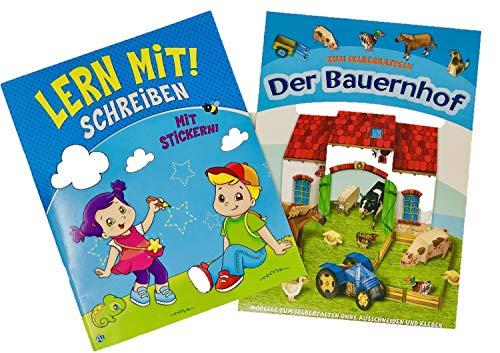 2-er Set Lern mit Schreiben (m. Stickern) & Bastelbuch Der Bauernhof + Gratis Minis Überraschung