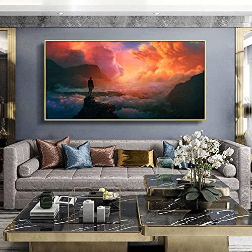DDYGZA Figura Pintura al óleo Sunrise Valley Paisaje Arte Lienzo Pintura Regalo Pintura Sala de Estar Pasillo decoración del hogar Mural 40x60cm