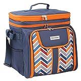 anndora Picknicktasche blau orange Kühltasche inkl. Zubehör 4 Personen 29 Teile...