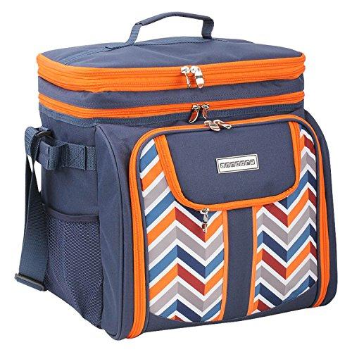 anndora Picknicktasche blau orange Kühltasche inkl. Zubehör 4 Personen 29 Teile