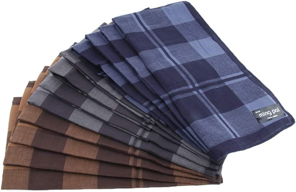 LoveinDIY 12pcs Men Plaid Cotton Pocket Handkerchief Pocket Square Hanky Xmas Gifts