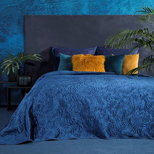 Eurofirany Luxuriöse Tagesdecke Steppdecke Bettüberwurf 220x240 Blaue Steppdecke Blätter Muster Steppung Palme Dunkelgrün Grün zur Wahl (Dunkelblau)