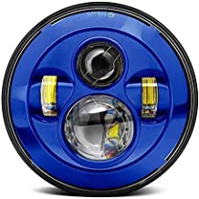 Eagle Lights Blue 7 inch Round Harley LED Projection Headlight for Harley Davidson Motorcycles (Blue)