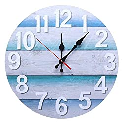 Zdtxkj 13'' Vintage Beach Wall Clock Boards Ocean Blue Wooden Digital Clocks Silent Marine Home Living Room Decoration