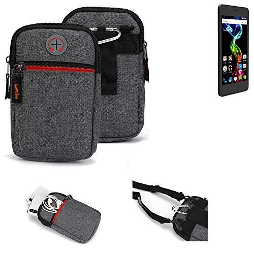 K-S-Trade® Gürtel-Tasche Für Archos 45d Platinum Handy-Tasche Schutz-hülle Grau Zusatzfächer 1x