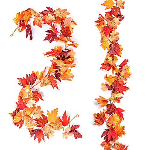 Sharson 2 Packs Fall Maple Leaf Garland, 5.7ft Fall Foliage Garland, Artificial Hanging Vines with Silk Fake Fall Leaf for Home Decoration Wedding Party Thanksgiving Christmas
