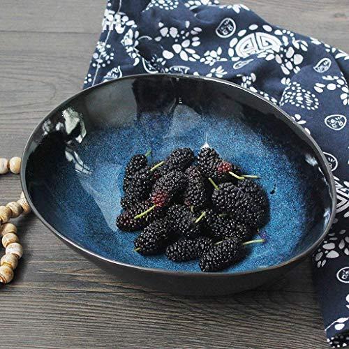 WCS Grande capacité salade de fruits bol saladier ramen bol de nouilles créatif vaisselle en céramique bol de mélange bol de service 8 pouces ovale bleu