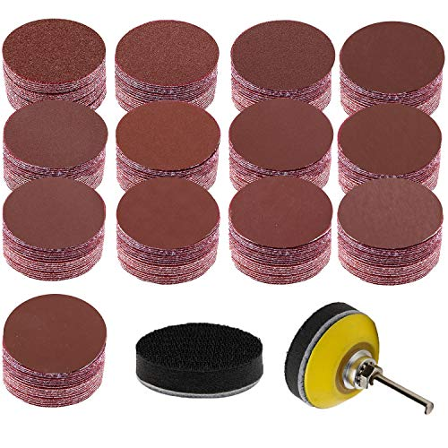 Sanding Disc pad, DEWINNER 2' Sanding Discs Pad Kit for Drill Grinder Rotary Tools with Sanding Pad and Shaft,130PCS 10pcs Each Grit - 60 80 120 180 240 400 600 800 1000 1200 1500 2000 3000