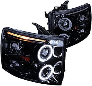 Spec-D Tuning 2LHP-SIV07G-TM Chevy Silverado Glossy Black Housing Halo Led Projector Head Lights