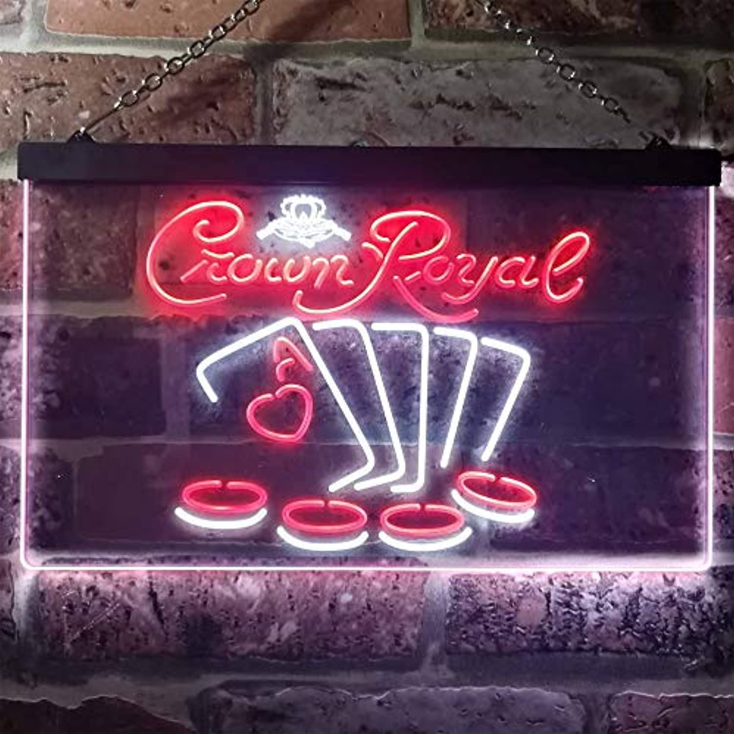 Zusme Crown Royal Casino Poker Novelty LED Neon Sign Weiß + rot W40cm x H30cm