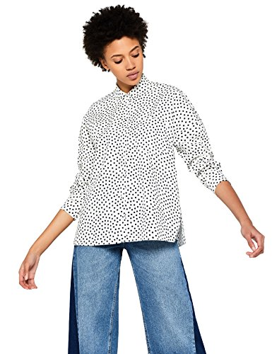 Marca Amazon - find. Camisa de Lunares Mujer, Blanco (White/navy Spot), 38, Label: S