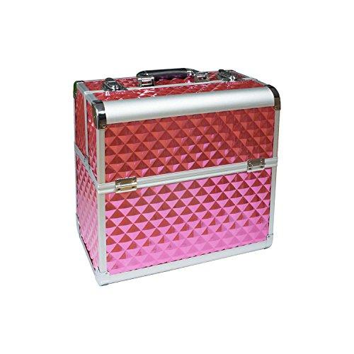 N&BF Profi Kosmetikkoffer groß | 35 x 22 x 36 cm | Rose Diamonds | robuster Nagelkoffer aus Aluminium | Beautycase mit viel Staurum | Aufklappbare Fächer auf zwei Etagen verteilt | pflegeleicht