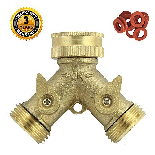 A1001T Heavy Duty Brass Y 2 Way Garden Hose Connector