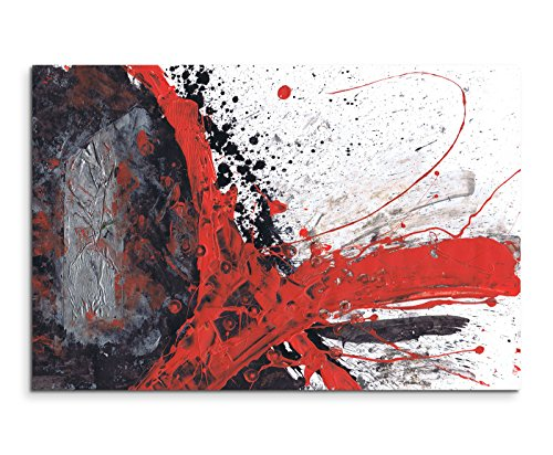 Paul Sinus Art 120x80cm Leinwandbild Leinwanddruck Kunstdruck Wandbild rot schwarz grau weiß gemalt
