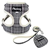 Didog Soft Padded Dog Vest Harness and Leash Set with Cute Bags,No Pull Escape Proof Breathable Mesh Dog Harness,Classic Plaid/Back Openable,Fit Walking Small Dogs, Cats, Gray
