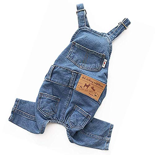 Dog Jean for Small Dog Costume Overalls Pet Denim Jumpsuit for Small Dog Soft and Comfortable...