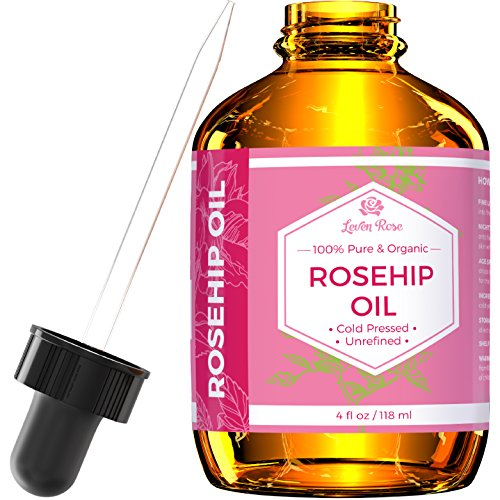 Rosehip Seed Oil by Leven Rose, 100% Pure Organic Unrefined Cold Pressed Anti Aging Rose Hip Moisturizer for Hair Skin & Nails, 4 Fl. oz