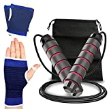 PUZGIC Jumping Rope Tangle-Free – Rapid Speed Skipping Rope with Gloves for Aerobic Exercise (All...