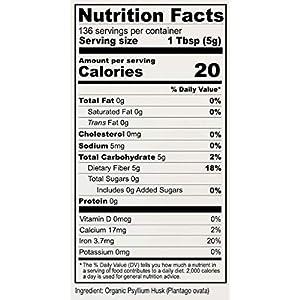Anthony's Organic Whole Psyllium Husks, 1.5 lb, Dietary Fiber, Gluten Free, Non GMO, Keto Friendly