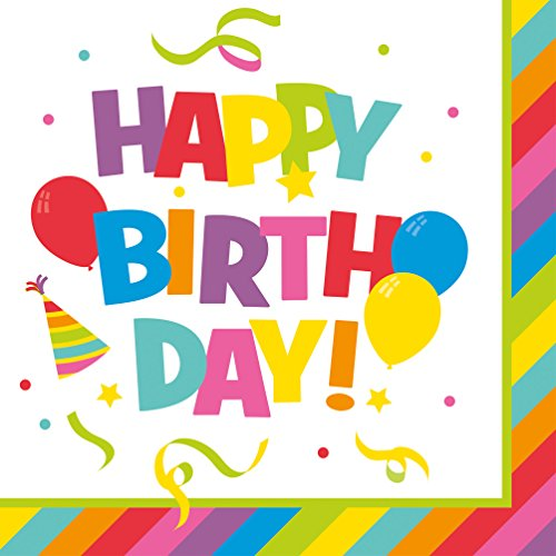 Susy Card 40011981 – Serviette Motif Happy Birthday, 33 x 33 cm