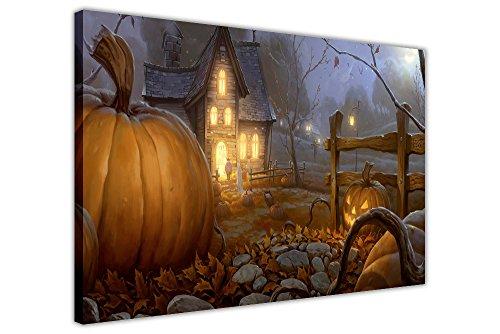 CANVAS IT UP Kürbis Farm Halloween Dekoration Wall Art Print auf Leinwand Bilder Fotos, canvas holz, 01- A4-12