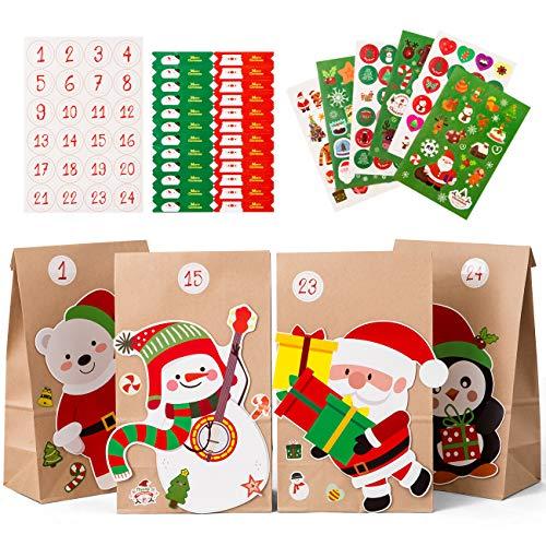 Naler Adventskalender zum Befüllen Papiertüten mit Aufkleber Geschenktüten Weihnachten für Kinder Basteln DIY Advents Geschenke Weihnachtsgeschenk