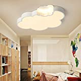 LITFAD Dimmable LED Ceiling Light Cartoon Cloud Design Ceiling Lamp Fixture in White for Girls Bedroom,Kids Room,Children Bedroom Study Room