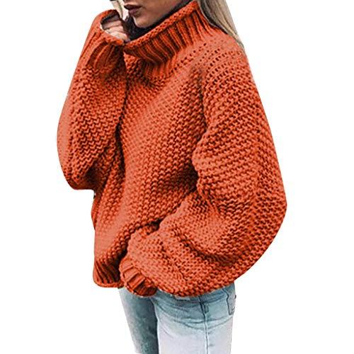 FOTBIMK Pull Tricot Femme À Col Roulé Lâche Décontracté Asymétrique À Manches Longues Couleur Unie Orange XL