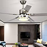 Modern LED Ceiling Fan 5 Stainless Steel Blades and Remote Control 3-Light Changes Indoor Quiet Energy Saving Fan Chandelier for Home Decoration 48-In