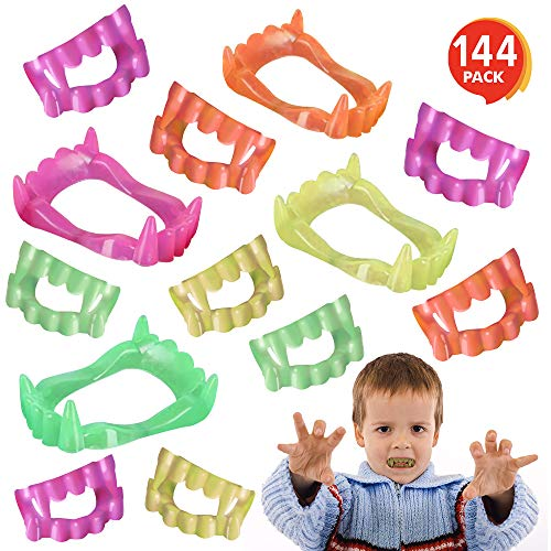 ArtCreativity Neon Vampire Fangs for Kids and Adults, Bulk Pack of 144, Vampirina Party Supplies, Dracula Costume Accessories, Best for Halloween Party Favors, Treats, Décor, Goodie Bags