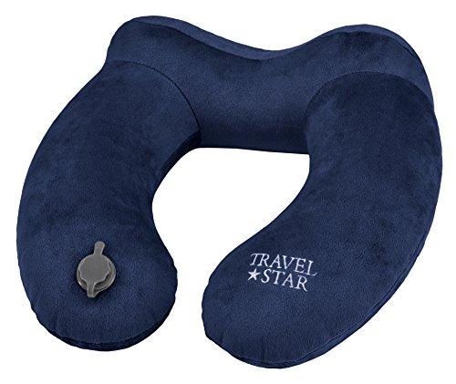 travelstar aufblasbares Design Nackenkissen mit extra großem Ventil zum schnellen Aufblasen in nur 3 Sekunden, Blau