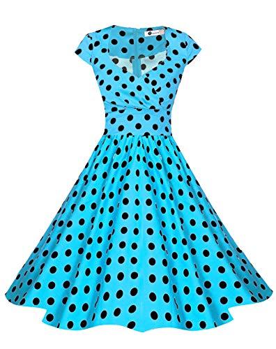 Zarlena Damen Rockabilly Kleider Vintage Pin-Up Retro Polka Dots Cap Sleeves Türkis/Schwarz M