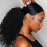 ColorfulPanda Extensiones de cabello negro Afro Kinky Curly Ponytail Cabello Yaki para mujeres negras, Clip en cierre superior Pieza de pelo de cola de caballo con cordón negro natural 16'