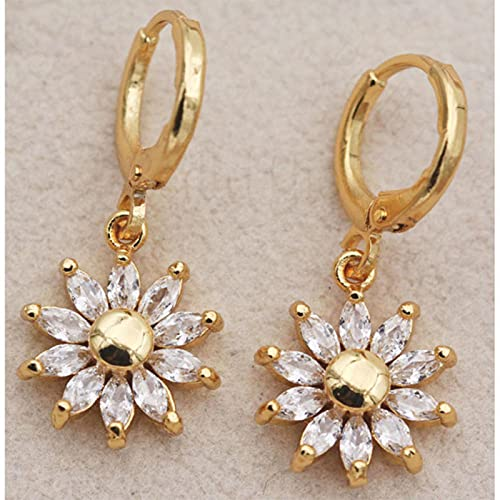 SONGK Pendientes de Gota Bohemios para Mujer Pendiente de Flor de Sol con Relleno de Oro con circonita Blanca Cuelga para el oído Accesorios de joyería de Boda