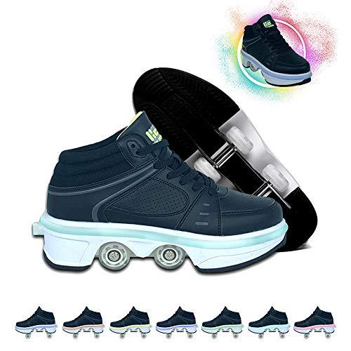 GGOODD Deformation Invisible Roller Skate Patines Cuádruples de Doble Fila 2 en 1 Zapatos Multiusos con 7 Colores de Luz LED Zapatos Deportivos al Aire Libre para Principiantes Niños y Niñas,42