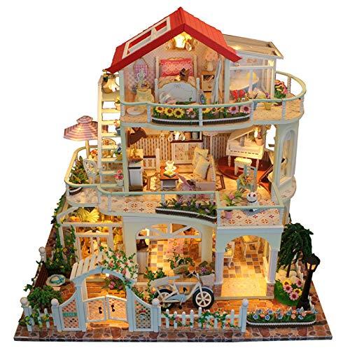 Xuanshengjia Casa de muñecas de madera, kit de casa en miniatura 3D, sin protección contra el polvo, modelo de casa ensamblado con luces LED, mini lujoso 3 capas, juguete educativo para niñas