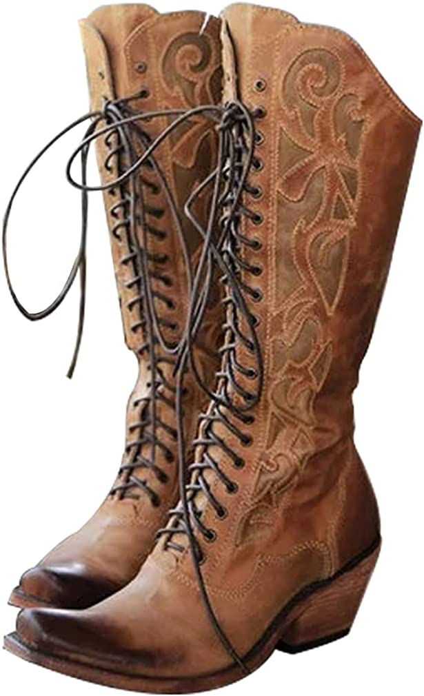 Furcross Women Block Chunky Heel Cowgril Cowboy Western Knee High Boots Lace Up Riding Retro Snip Toe Mid Calf Boots