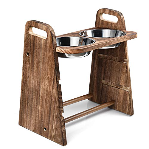 Emfogo Dog Bowls Elevated 3 Heights 4in 8in 13in Rustic Wood Elevated Dog Cat Dishes with Double...