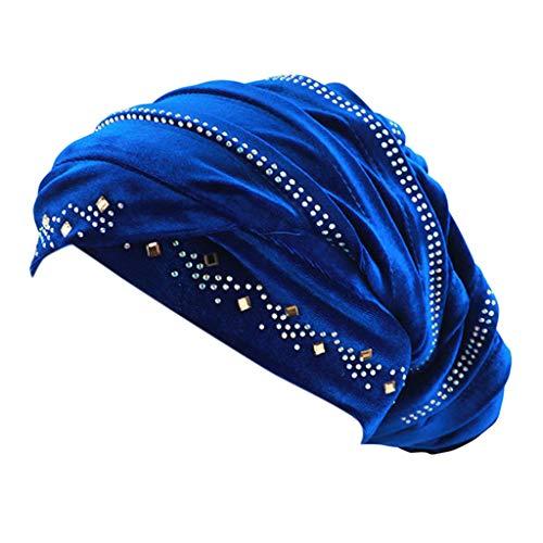 DOLDOA Hut Damen Sommer,Damen Perlen Turban Hut muslimischen Krebs Chemo Haarausfall Cap (Blau)