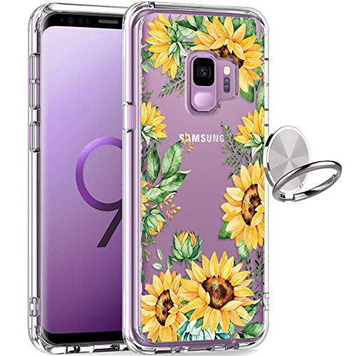 GiiKa Galaxy S9 Case, Clear Heavy Duty Shockproof Girls Women Protective Phone Cover Case for Samsung Galaxy S9, Yellow Sunflowers