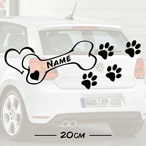 #2 Hunde Knochen Love mit Wunschtext | Name | Auto Aufkleber | Hund | Haustier | Wunschtext