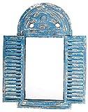 Esschert Design Wandspiegel, Garderobenspiegel im Louvre Stil, verwittertes blau mit Fensterläden, ca. 39 cm x 55 cm (Gartenartikel)